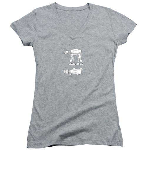 Star Wars - At-at Patent Women's V-Neck T-Shirt (Junior Cut) by Mark Rogan