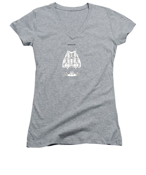 Star Wars - Snowspeeder Patent Women's V-Neck T-Shirt (Junior Cut) by Mark Rogan