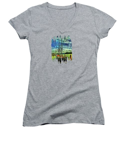 Women's V-Neck T-Shirt (Junior Cut) featuring the photograph Cape Foulweather Tall Ship by Thom Zehrfeld
