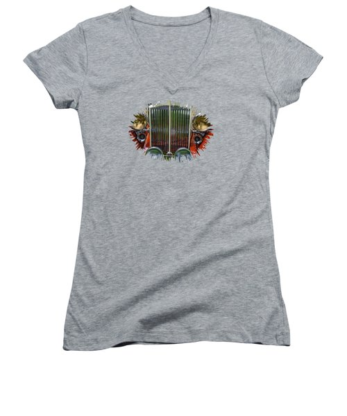 Women's V-Neck T-Shirt (Junior Cut) featuring the photograph 1928 Classic Packard 443 Roadster by Thom Zehrfeld