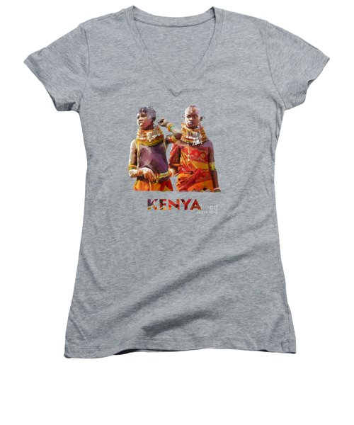 Young Turkana Girls Women's V-Neck T-Shirt (Junior Cut) by Anthony Mwangi