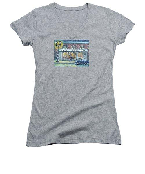 Griff Valentines' Birthday Women's V-Neck T-Shirt (Junior Cut) by Rita Brown