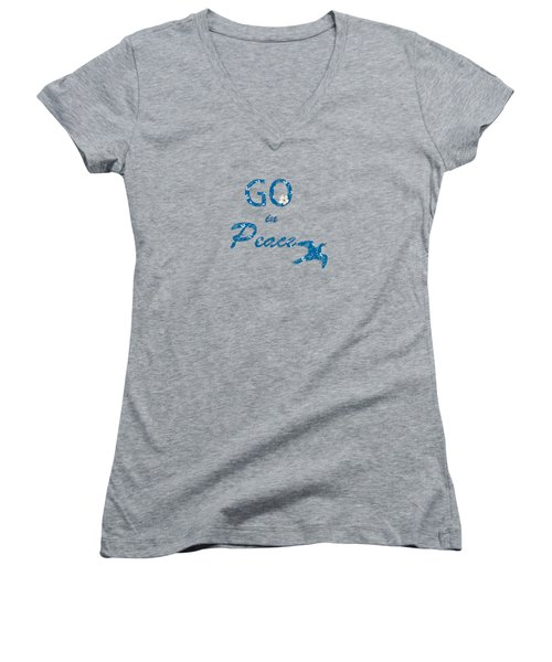 Women's V-Neck featuring the painting River Blue by Valerie Anne Kelly