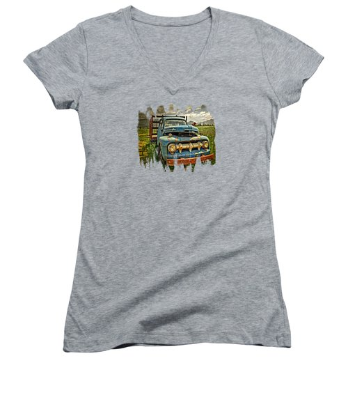 The Blue Classic 48 To 52 Ford Truck Women's V-Neck (Athletic Fit)