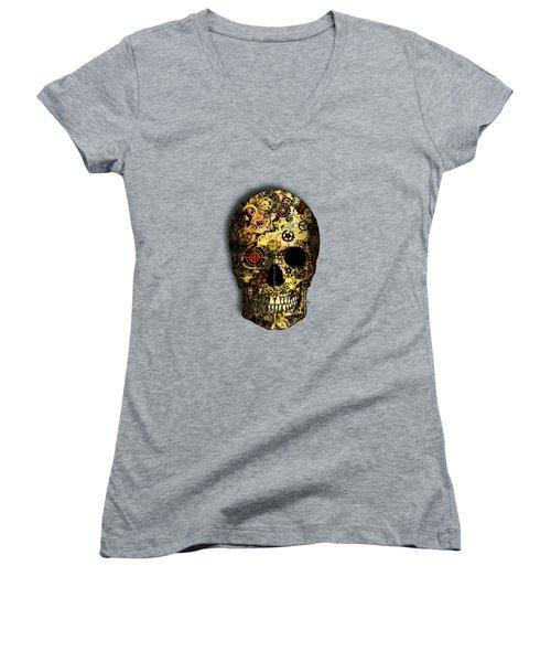 Women's V-Neck T-Shirt (Junior Cut) featuring the digital art Skullgear by Iowan Stone-Flowers