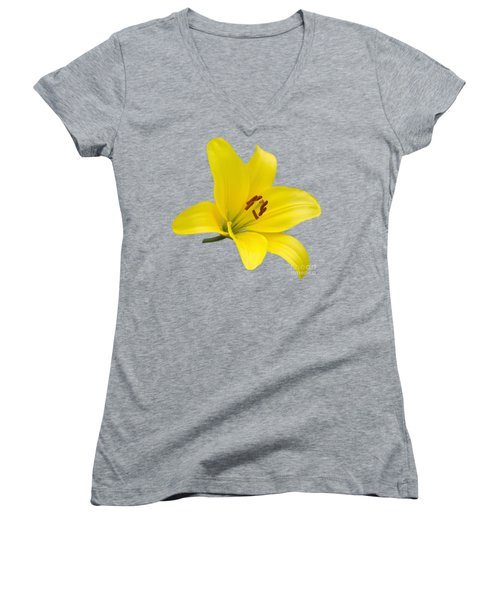 Yellow Asiatic Lily On Blue Women's V-Neck T-Shirt (Junior Cut) by Jane McIlroy