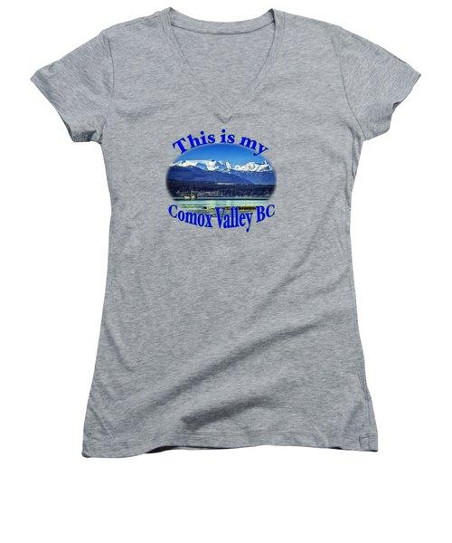 Comox Glacier And Herring Boat Women's V-Neck T-Shirt