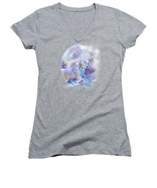Women's V-Neck T-Shirt (Junior Cut) featuring the mixed media Unicorn Soulmates by Carol Cavalaris