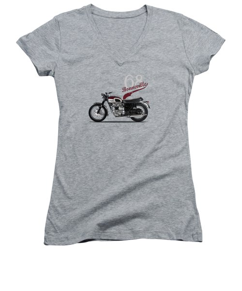 Triumph Bonneville T120 1968 Women's V-Neck T-Shirt (Junior Cut) by Mark Rogan