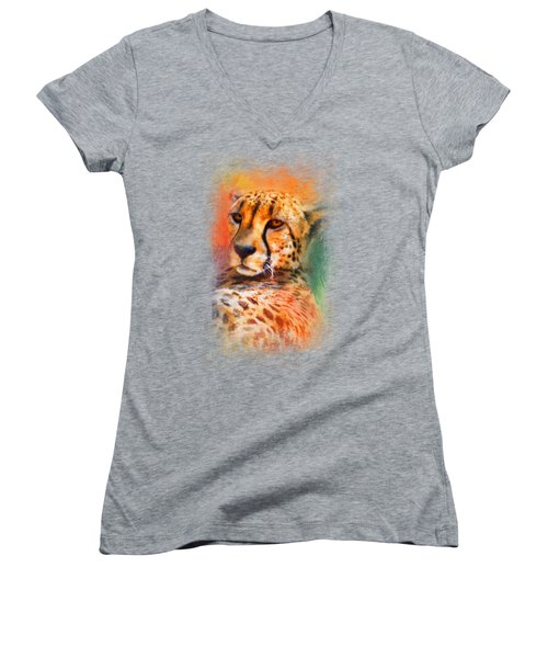 Colorful Expressions Cheetah Women's V-Neck T-Shirt (Junior Cut) by Jai Johnson