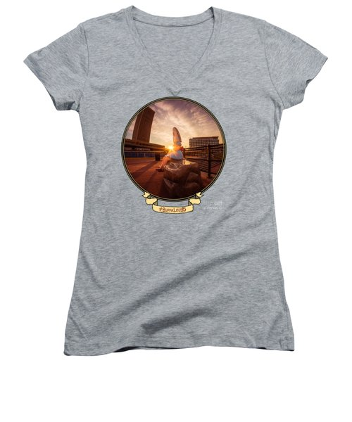 Women's V-Neck T-Shirt (Junior Cut) featuring the photograph Shark Girl Dawn - Horizontal by Chris Bordeleau