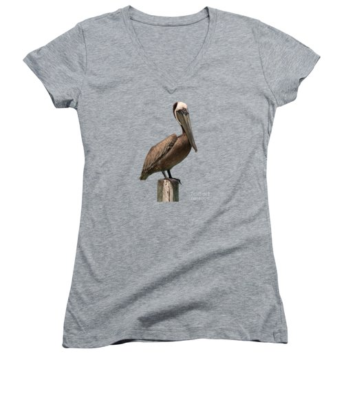 Pelican Perched On A Piling Women's V-Neck T-Shirt