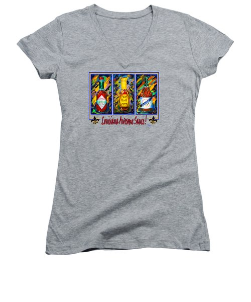 Louisiana Awesome Sauces Women's V-Neck T-Shirt (Junior Cut) by Dianne Parks