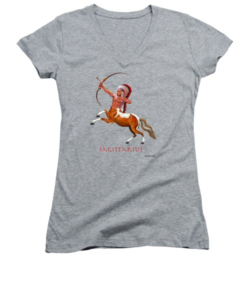 Native American Sagittarius Women's V-Neck T-Shirt (Junior Cut) by Glenn Holbrook