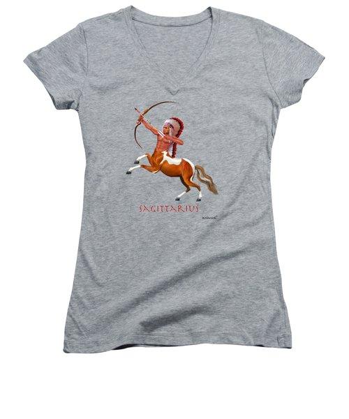 Native American Sagittarius Women's V-Neck T-Shirt