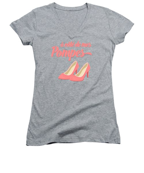 Pink High Heels French Saying Women's V-Neck T-Shirt