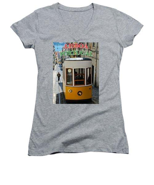 Lisbon - Portugal - Elevador Da Bica Women's V-Neck T-Shirt