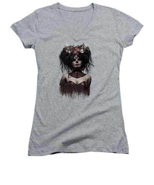 La Catrina Women's V-Neck T-Shirt