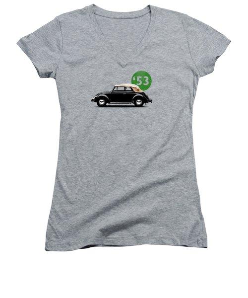 Beetle 53 Women's V-Neck T-Shirt (Junior Cut) by Mark Rogan