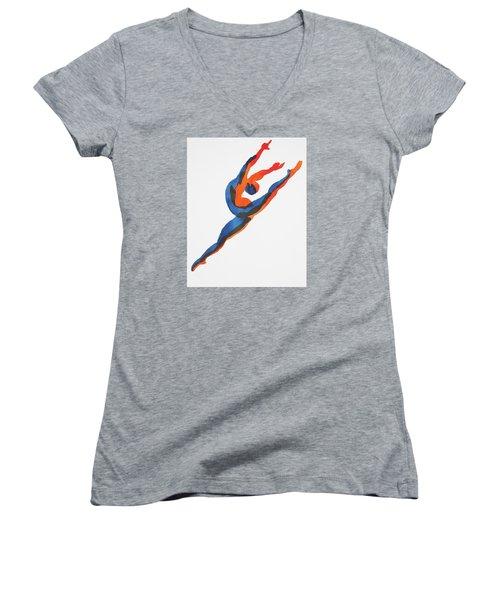 Ballet Dancer 2 Leaping Women's V-Neck T-Shirt (Junior Cut) by Shungaboy X