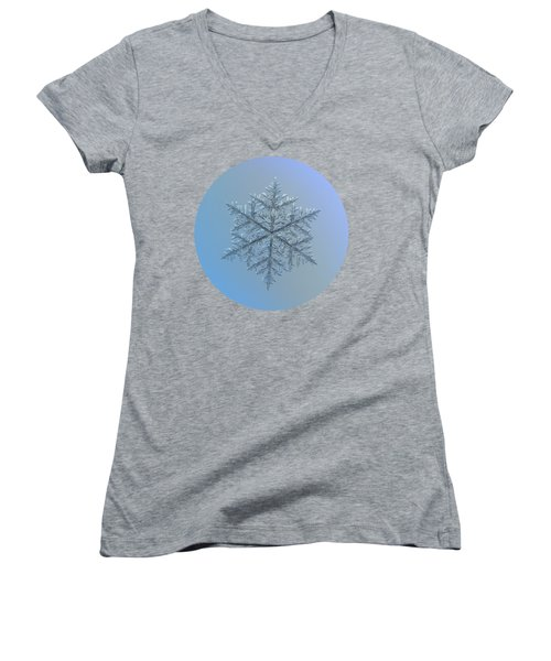 Snowflake Photo - Majestic Crystal Women's V-Neck T-Shirt (Junior Cut) by Alexey Kljatov