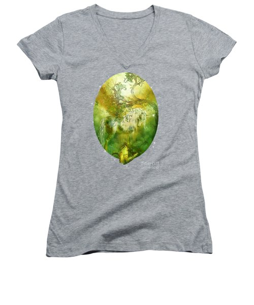 Unicorn Of The Forest  Women's V-Neck T-Shirt (Junior Cut) by Carol Cavalaris