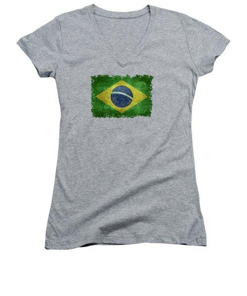 Flag Of Brazil Vintage 18x24 Crop Version Women's V-Neck T-Shirt (Junior Cut) by Bruce Stanfield