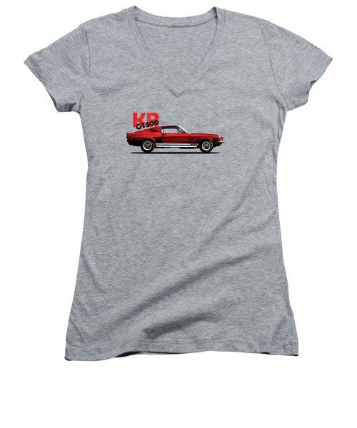 Shelby Mustang Gt500 Kr 1968 Women's V-Neck T-Shirt (Junior Cut) by Mark Rogan