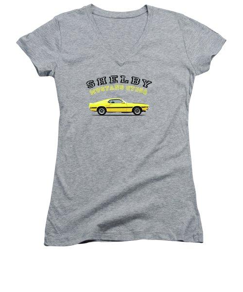 Shelby Mustang Gt350 1969 Women's V-Neck T-Shirt (Junior Cut) by Mark Rogan