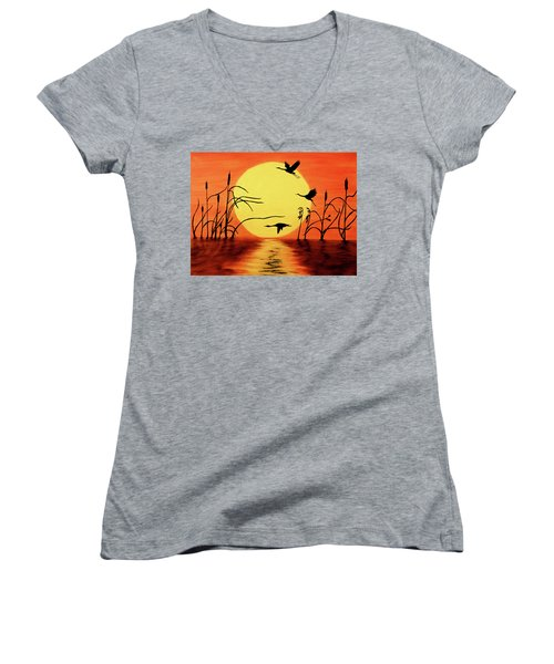Women's V-Neck T-Shirt (Junior Cut) featuring the painting Sunset Geese by Teresa Wing