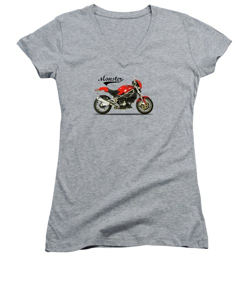 Ducati Monster S4 Sps Women's V-Neck T-Shirt (Junior Cut) by Mark Rogan