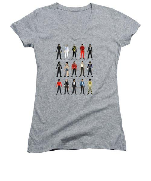 Outfits Of Michael Jackson Women's V-Neck T-Shirt (Junior Cut) by Notsniw Art