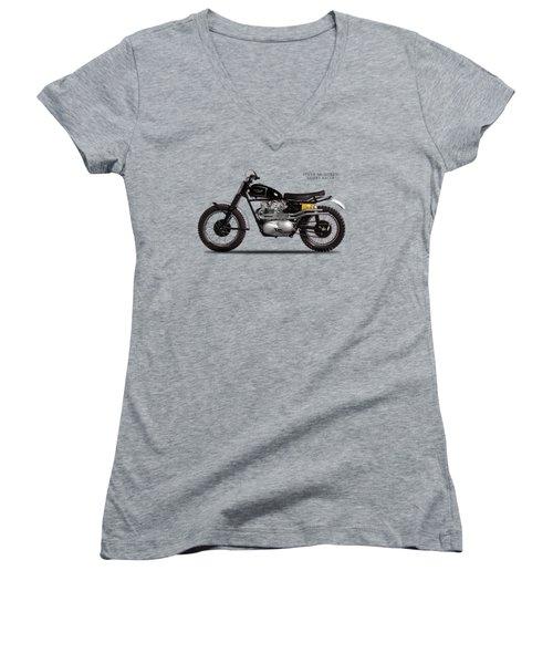 The Steve Mcqueen Desert Racer Women's V-Neck T-Shirt (Junior Cut) by Mark Rogan