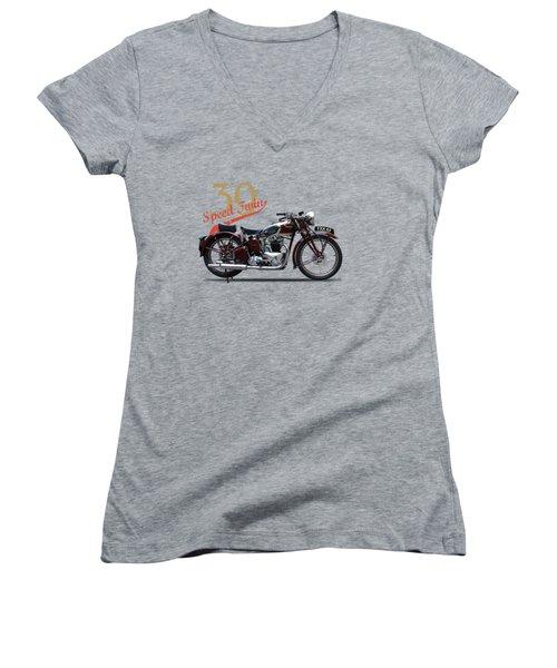 Speed Twin 1939 Women's V-Neck T-Shirt (Junior Cut) by Mark Rogan