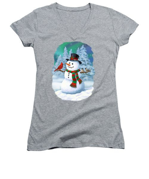 Sharing The Wonder - Christmas Snowman And Birds Women's V-Neck (Athletic Fit)