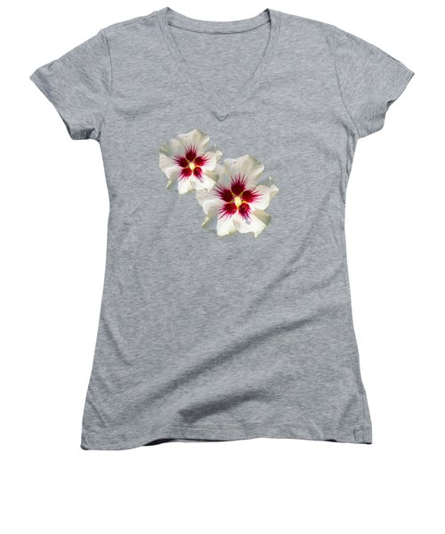 Women's V-Neck T-Shirt (Junior Cut) featuring the mixed media Hibiscus Flower Pattern by Christina Rollo