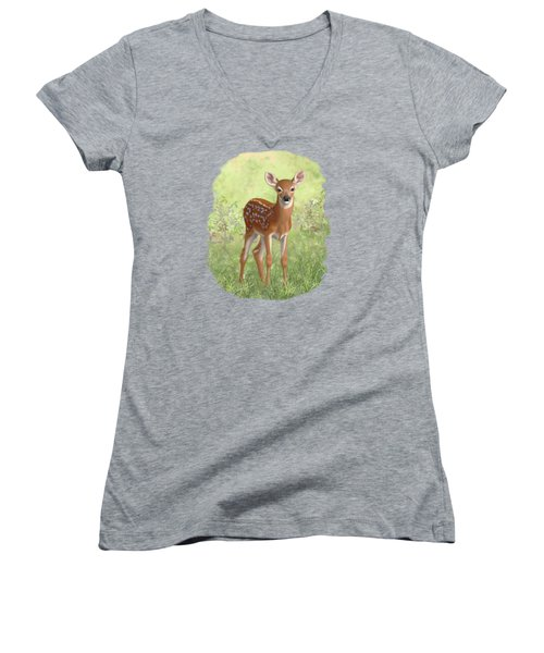 Cute Whitetail Deer Fawn Women's V-Neck T-Shirt (Junior Cut) by Crista Forest