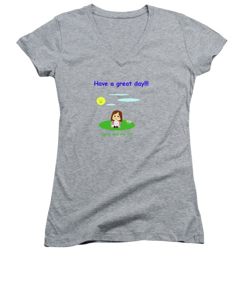 Cathy And The Cat Have A Great Day Women's V-Neck
