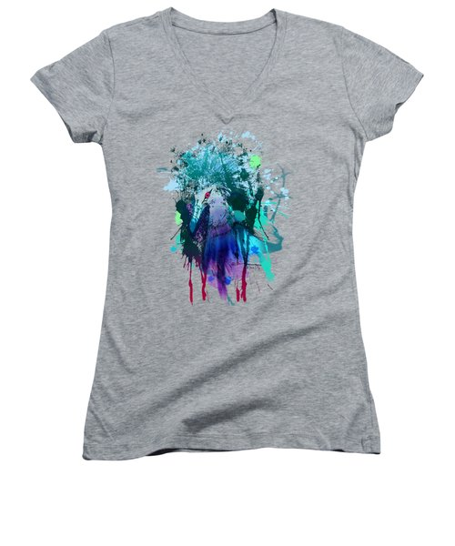 Victoria Crowned Pigeon Women's V-Neck T-Shirt (Junior Cut) by Clinton Caleb