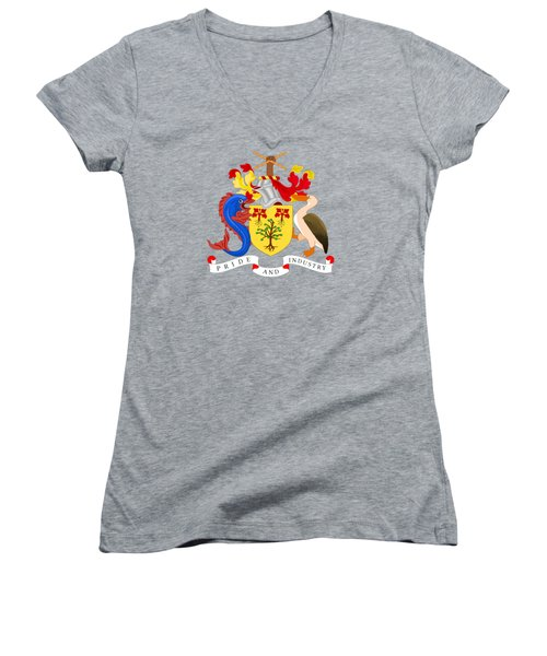 Women's V-Neck T-Shirt (Junior Cut) featuring the drawing Barbados Coat Of Arms by Movie Poster Prints