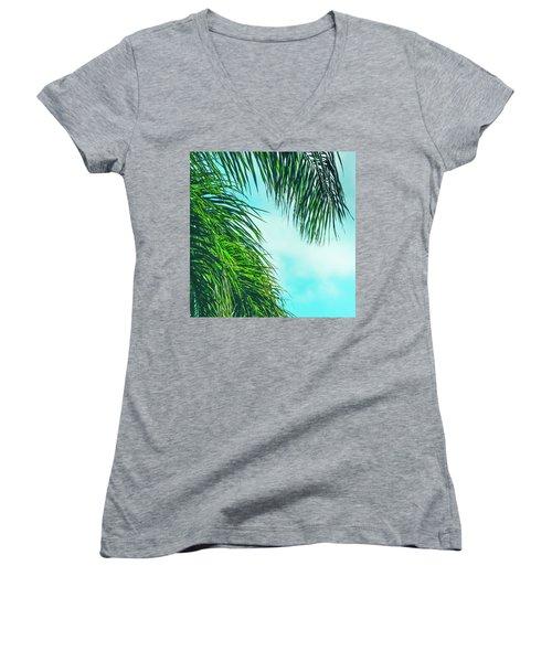 Tropical Palms Maui Hawaii Women's V-Neck T-Shirt (Junior Cut) by Sharon Mau