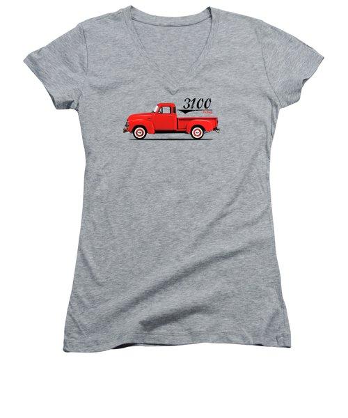 The 3100 Pickup Truck Women's V-Neck T-Shirt (Junior Cut) by Mark Rogan
