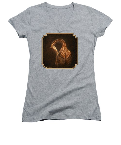 Love's Golden Touch Women's V-Neck T-Shirt (Junior Cut) by Crista Forest