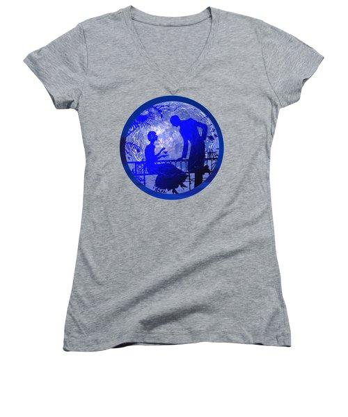Blue Moonlight Lovers Women's V-Neck T-Shirt