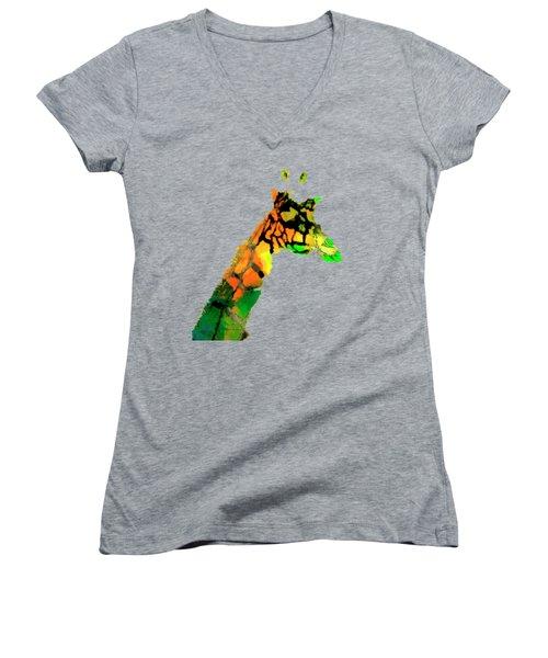 Colored Giraffe Women's V-Neck (Athletic Fit)