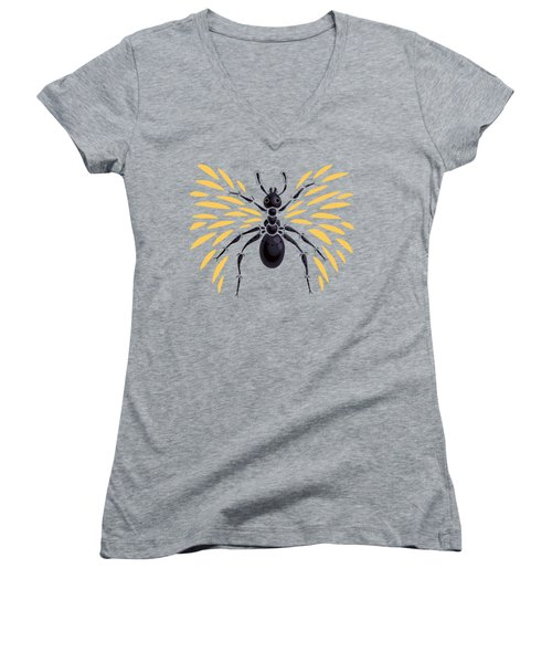 Winged Ant In Fiery Orange Women's V-Neck (Athletic Fit)