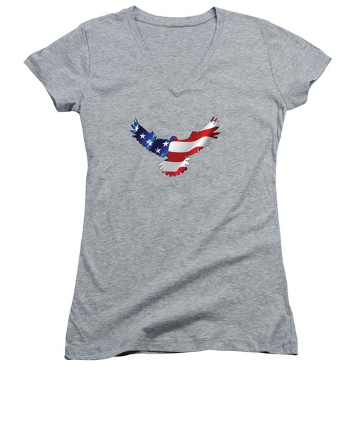Stars And Striped Eagle Women's V-Neck (Athletic Fit)