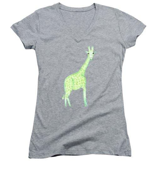 Green Giraffe  Women's V-Neck
