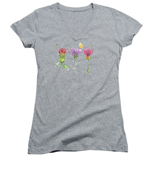 Scottish Thistle Tattoo With Bumble Bee Fl104 Women's V-Neck