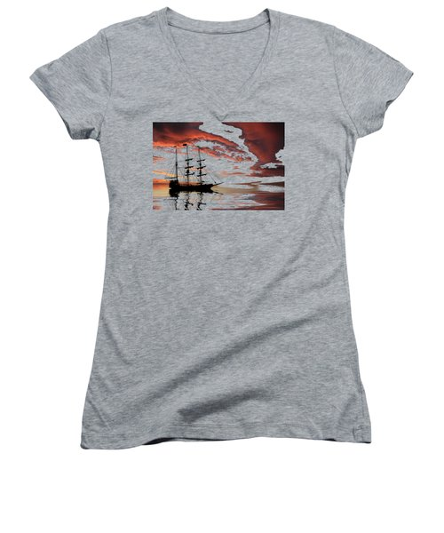 Pirate Ship At Sunset Women's V-Neck T-Shirt (Junior Cut) by Shane Bechler